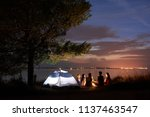 group of five travellers  girls ... | Shutterstock . vector #1137463547