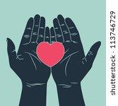 hand giving love symbol | Shutterstock .eps vector #113746729