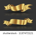 gold big ribbon banner with... | Shutterstock .eps vector #1137472121