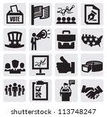 vector black election icons set ... | Shutterstock .eps vector #113748247