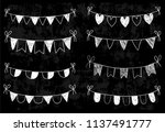 chalkboard doodle bunting with... | Shutterstock .eps vector #1137491777