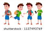 boy schoolboy kid poses set... | Shutterstock .eps vector #1137493769