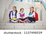 happy children girls girlfriend ... | Shutterstock . vector #1137498539
