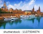 dresden skyline reflecion in... | Shutterstock . vector #1137504074