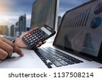 analyzing the work accounting... | Shutterstock . vector #1137508214