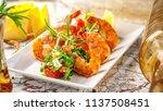 balkan cuisine. sea prawns with ...   Shutterstock . vector #1137508451