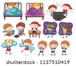 a set of doodle kids and... | Shutterstock .eps vector #1137510419