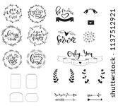 romantic handdrawn set of... | Shutterstock .eps vector #1137512921