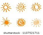 doodle vector suns. hand drawn. ... | Shutterstock .eps vector #1137521711