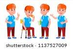 boy schoolboy kid poses set... | Shutterstock .eps vector #1137527009