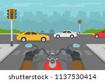 motorcycle driver waiting on a... | Shutterstock .eps vector #1137530414