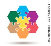 hexagon puzzle pieces. vector... | Shutterstock .eps vector #1137535031