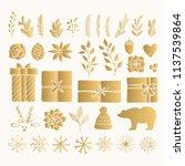 christmas set of golden... | Shutterstock .eps vector #1137539864