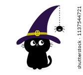 black cat silhouette looking to ... | Shutterstock .eps vector #1137544721