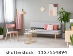 real photo of lounge with dirty ... | Shutterstock . vector #1137554894