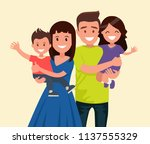 happy family. father  mother ... | Shutterstock .eps vector #1137555329
