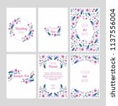 set of cards with floral design ... | Shutterstock .eps vector #1137556004