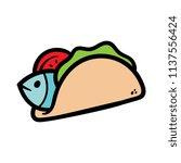 cartoon fish taco | Shutterstock .eps vector #1137556424