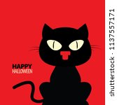 black cat. happy halloween.... | Shutterstock .eps vector #1137557171