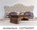 interior of  bedroom in loft... | Shutterstock . vector #1137562037