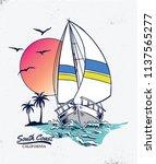 vintage sail boat vector... | Shutterstock .eps vector #1137565277