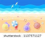 blue sea and beach summer... | Shutterstock .eps vector #1137571127