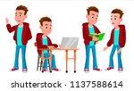 boy schoolboy kid poses set...   Shutterstock .eps vector #1137588614