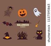 halloween elements.happy... | Shutterstock .eps vector #1137595865