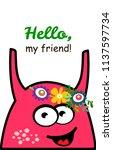 cute cartoon monster.... | Shutterstock .eps vector #1137597734