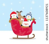cute christmas character on...   Shutterstock .eps vector #1137608921