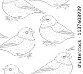 coloring seamless pattern bird... | Shutterstock .eps vector #1137608939