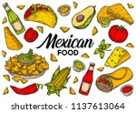 mexican food traditional vector ... | Shutterstock .eps vector #1137613064