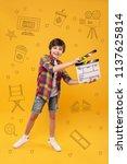 happy filmmaker. positive... | Shutterstock . vector #1137625814