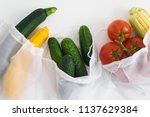 fresh raw vegetables in textile ... | Shutterstock . vector #1137629384
