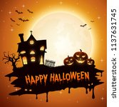 halloween background with... | Shutterstock .eps vector #1137631745