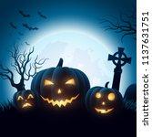 halloween background with... | Shutterstock .eps vector #1137631751