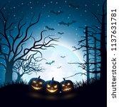 cartoon halloween pumpkins  | Shutterstock .eps vector #1137631781
