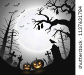 halloween background with... | Shutterstock .eps vector #1137631784