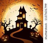 halloween night background with ... | Shutterstock .eps vector #1137631799