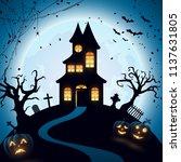 halloween night background with ... | Shutterstock .eps vector #1137631805