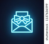 email neon icon. open envelope...