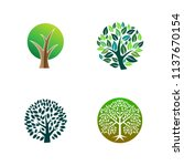 green tree logo icon. natural... | Shutterstock .eps vector #1137670154