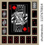 black playing cards of diamonds ... | Shutterstock . vector #1137670814