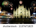 fireworks over milano  iyaly  ... | Shutterstock . vector #1137671825