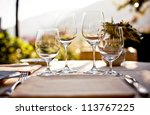 served table set at summer... | Shutterstock . vector #113767225