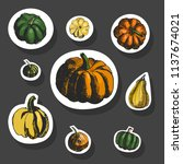 pumkin stickers. vector sketch. ... | Shutterstock .eps vector #1137674021