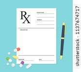 empty medical prescription rx... | Shutterstock .eps vector #1137674717