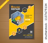 construction tools cover a4... | Shutterstock .eps vector #1137675134
