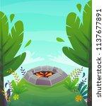 forest grass field bbq grill... | Shutterstock .eps vector #1137677891