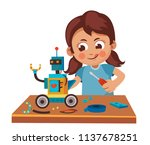 little girl making  robot  from ... | Shutterstock .eps vector #1137678251